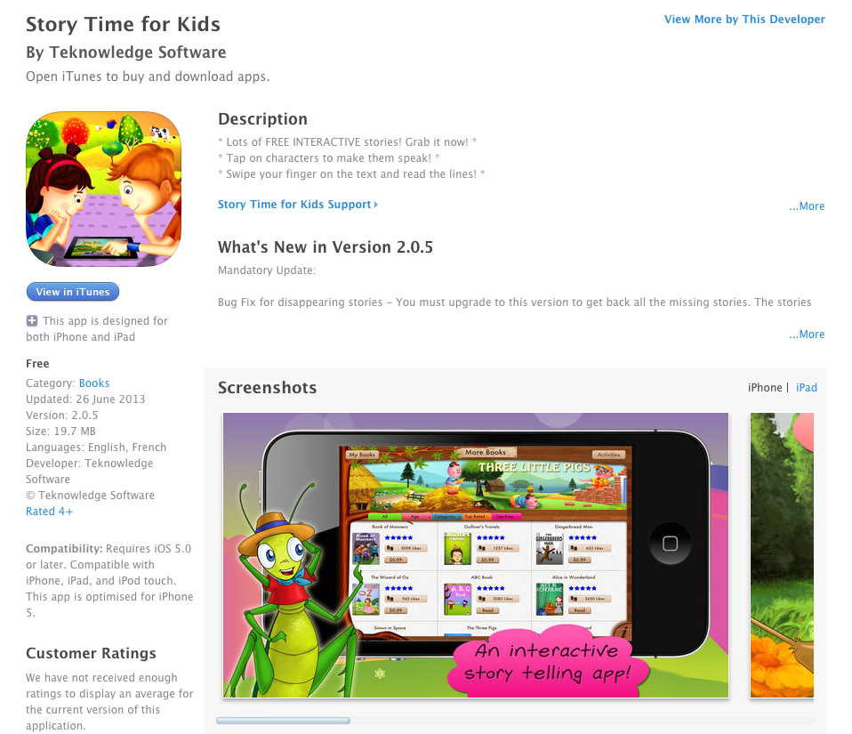 Our free app for kids is featured at iTunes