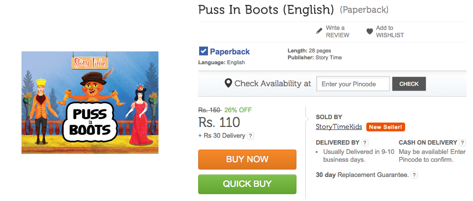 Puss In Boots on Flipkart