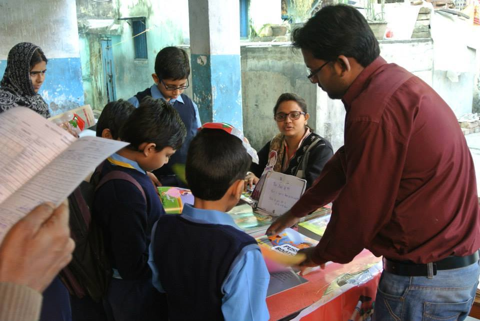 Deluge of kids at the Story Time bookstall
